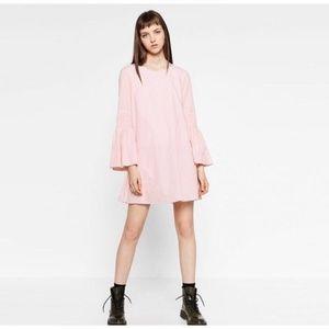 NWT~ZARA~Pink/Wht Stripe Bell-Sleeve Romper Dress